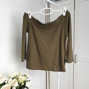 AUS XL Cotton On Khaki Ribbed 3/4 Sleeve Crop Off The Shoulder Top